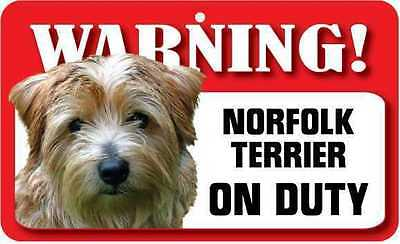 Norfolk Terrier Sign - Laminated Card -  Beware Of Dog 20cm x 12cm