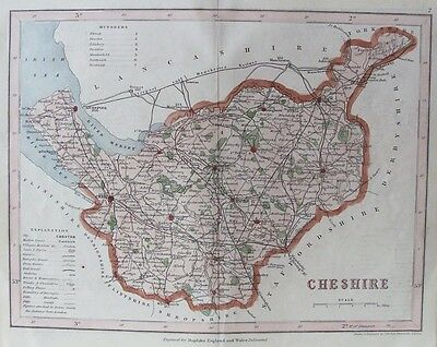 OLD ANTIQUE MAP CHESHIRE by J ARCHER c1840's 19th CENTURY ENGRAVING