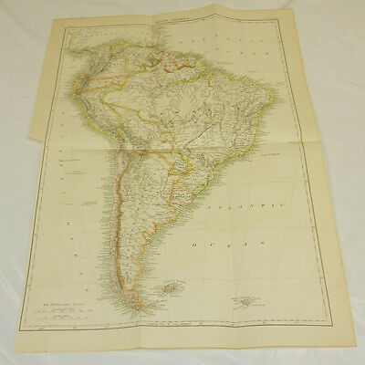 1875 Antique COLOR Map/SOUTH AMERICA/Large 14x20""