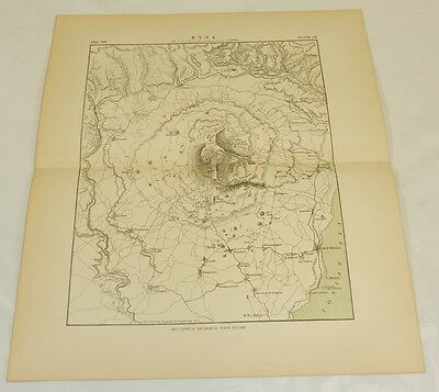 1878 Antique COLOR Map/MOUNT ETNA AREA, SICILY, ITALY