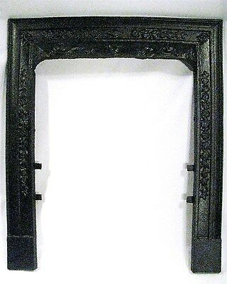 Antique Ornate Floral Victorian Cast Iron Fireplace Door Frame Mantle Surround