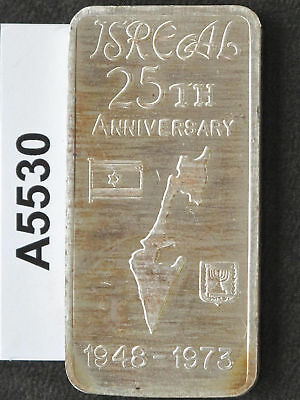 1973 Israel 25th Anniversary Silver Art Bar Great Lakes Mint A5530