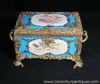 Cyan Blue Sevres Porcelain Trinket Case Jewellery Box French Pottery