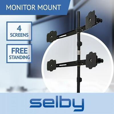 "Up to 27"" 12kg Quad Four 4 XL LCD Monitor Mount Freestanding Desktop Stand VESA"