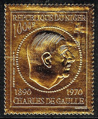 NIGER 1971 1000f Charles De Gaulle airmail/air embossed GOLD FOIL stamp MNH mint