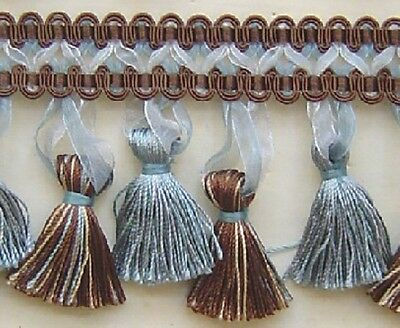 "3//4/"" Braid 3 YD Silver Blue Brown Match Chair Tie Bullion Fringe Rosette Tassel"