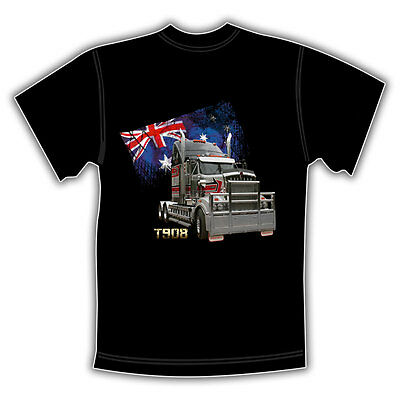 KENWORTH TRUCK T908 BLACK T SHIRT  'Aussie Flag'
