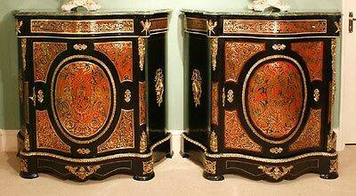 Pair Louis XVI Marble Serpentine Boulle Pier Cabinets