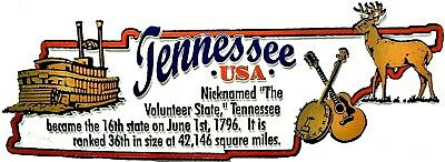 Tennessee the Volunteer State Outline Montage Fridge Magnet