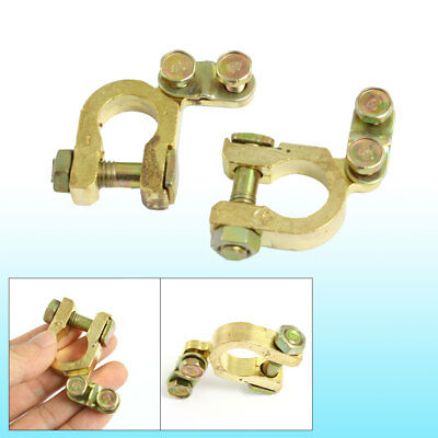 2 Pcs Car Brass Battery Connector Terminals Clamp Clip