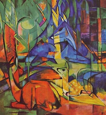 Composition with two deer by Franz Marc Giclee Fine ArtPrint Repro on Canvas