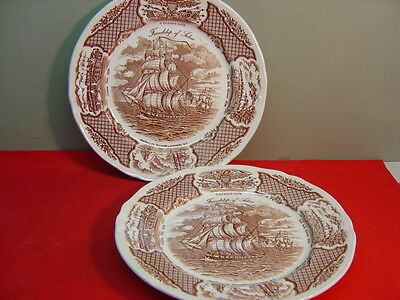 "Alfred Meakin China FAIR WINDS Brown ""The Friendship of Salem"" Two Dinner Plates"