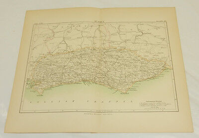 1887 Antique COLOR Map/SUSSEX, ENGLAND