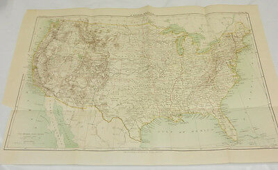 1888 Antique COLOR Map/ UNITED STATES /Large 13x19""