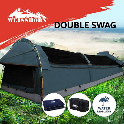 Weisshorn Double Canvas Swag Camping Swags Tent Deluxe Aluminum Poles + Bag