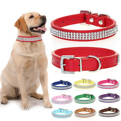 Luxury Rhinestone Diamante Crystal Band Puppy Dog Cat Pet Collar Pu Leather Tag