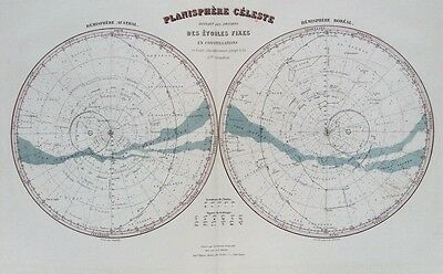 OLD MAP CELESTIAL ASTRONOMY CONSTELLATIONS c1870's by MIGEON ANTIQUE ENGRAVING