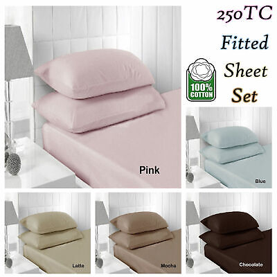 40cm Wall - 250TC 100% COTTON Fitted Sheet + P/case(s)- SINGLE DOUBLE QUEEN KING