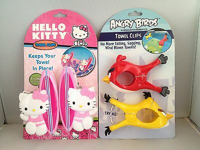 Lot of 2 Sets NEW Boca Clips (Hello Kitty & Angry Birds) Beach Pool Cruise Towel