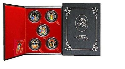 Belarus 2009 Pushkin Fairy Tales 5 Coin Set Large Silver Color Proof 20 R -Box