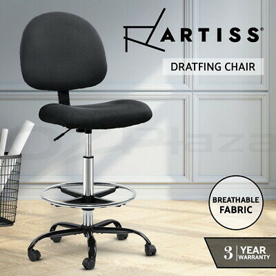 Artiss Office Chair Veer Drafting Stool Fabric Chairs Footrest Standing Desk BK