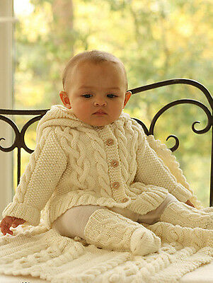 """Cabled Baby Hooded Sweater 18"""" - 30"""" ~ Socks & Blanket Knitting Pattern DK"""