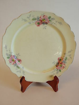 Vintage W S George Lido Canarytone Pink Floral Luncheon Plate Scalloped China