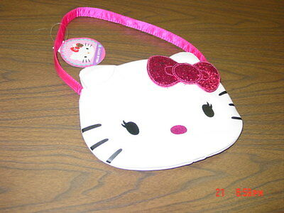 NWT Girls Hello Kitty White Purse Shoulder Bag Pink Bow Glitter Cat Trendy Tote