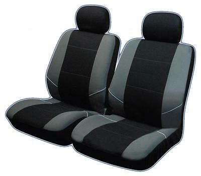UNIVERSAL FRONT CAR SEAT COVERS Inc Headrests Black/Grey Washable & Airbag Safe