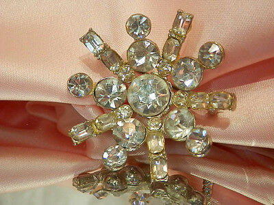 Large & Pretty Vintage 1930's Art Deco Rhinestone Brooch  1989o