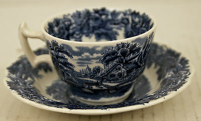 Booths Cup Saucer English Scenery Blue A8024 Pastoral Cottage Cows No Crazing!