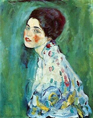 Portrait of a Lady by Gustav Klimt Giclee Fine Art Print Repro on Canvas