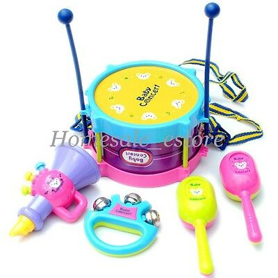 5pcs New Roll Drum Musical Instruments Band Kit Kids Children Toy Gift Set New