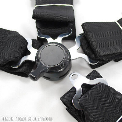 """3"""" Inch 4 Point Quick Release Seat Belt Harness (Black) with Brackets"""