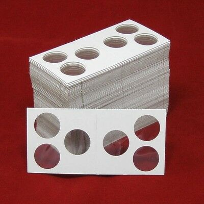 100 Cardboard 2x2 Coin Holder Mylar Flips with 3-Hole Openings for Cent/Dime