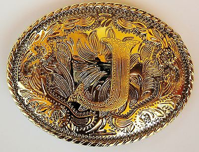 """Initial """" J """"  Rodeo Cowboy Letter Shine Gold Silver Western Belt Buckle"""