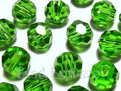 20Pc 6mm Austrian 5000 Crystal Glass Faceted Round Beads - Peridot Light Green
