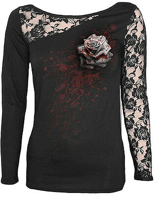 Spiral Direct White Rose Gothic Blood Spray Long Sleeved Lace Insert Sleeve Top