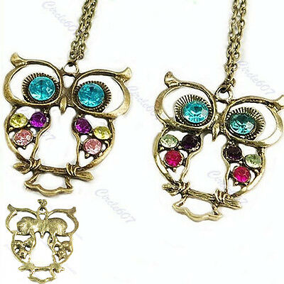 Vintage Retro Colorful Cute Owl Carved Hollow Rhinestone Sweater Chain Necklace