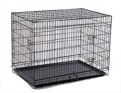 """Pawhut 36"""" Black Folding Dog Cage Pet Crate Kennel House 2 Doors w/ ABS Tray"""