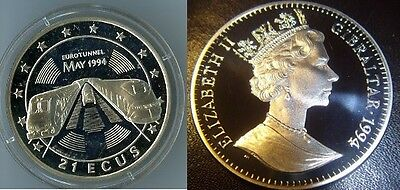 1994 Gibraltar Large Silver Proof 21 Ecu Tunnel/Train