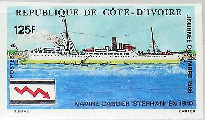 IVORY COAST ELFENBEINKÜSTE 1986 912 U 782 Stamp Day Cable Ship Kabelschiff MNH