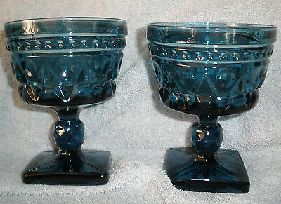 2 each Vintage Park Lane Colony Indiana Glass Blue Dessert Dishes Glasses Footed