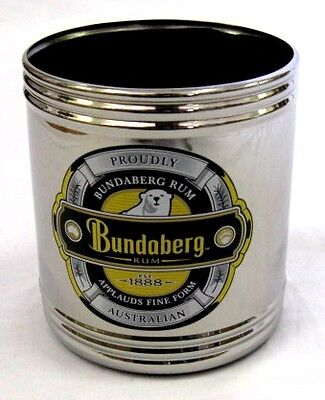 30456 Bundaberg Bundy Rum Stainless Steel Stubby Holder Can Cooler Drink Bar