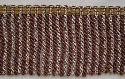 "1.75/"" Cut Brush Fringe Brown Gold Fuchsia match Bullion Fringe Gimp Beaded"