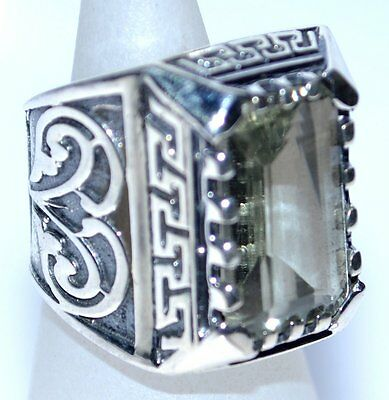 Solid Sterling SILVER Rings 925 Emerald cut Green Amethyst Mens Ring; K to Z+5