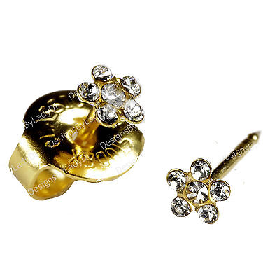 SHORT POST Baby Studs Gold Clear Daisy Ear Piercing Earrings Studex System 75