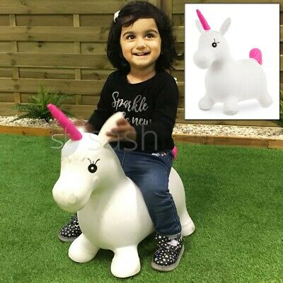 Kids Inflatable Unicorn Jump Bounce Space Hopper Outdoor Animal Ride On Toy Fun