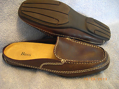 WOMEN'S SHOES Choc Brown Mules Loafers w Top Stitching by BASS SIZE 7