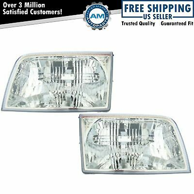 Front Headlights Headlamps Lights Lamps Pair Set for 06-11 Mercury Grand Marquis